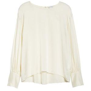 Club Monaco Long Blousen Ivory Sleeve Silk Top